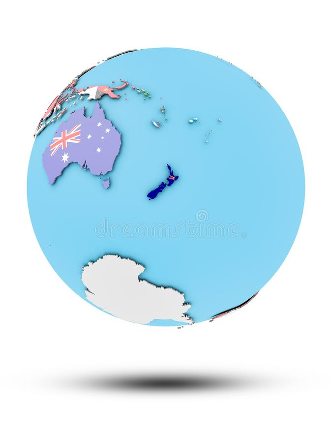 New Zealand on political globe with flags stock illustration