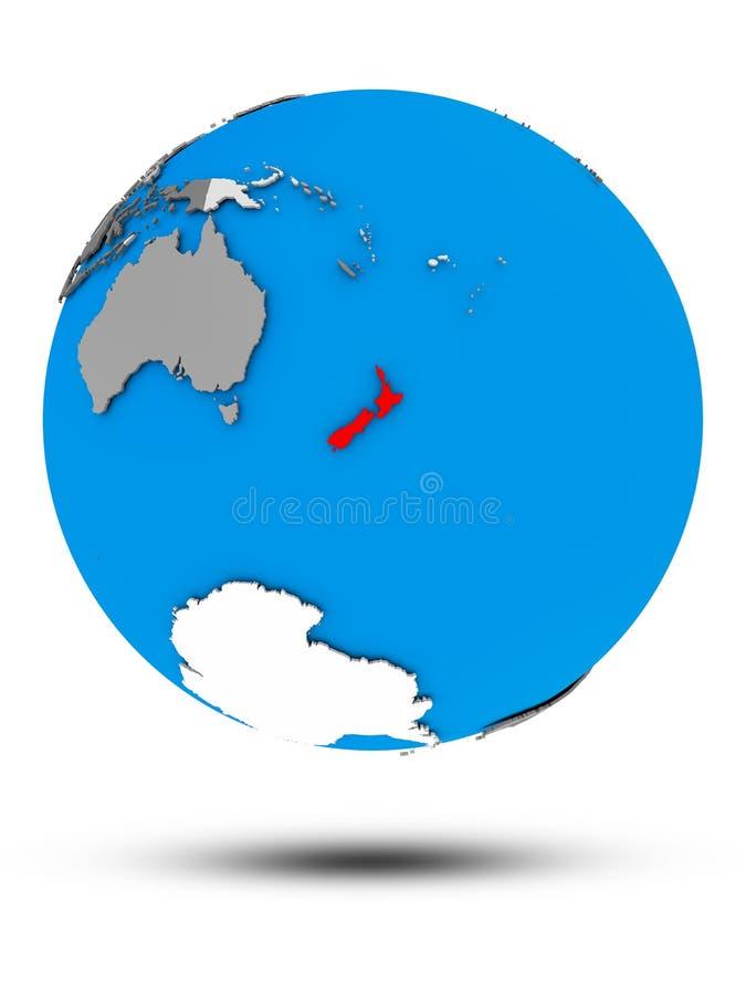 New Zealand on political globe isolated vector illustration