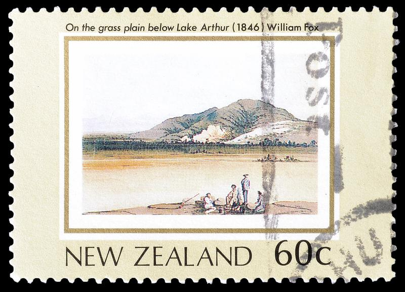 New Zealand on postage stamps royalty free stock photos