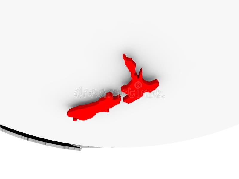 Map of New Zealand on grey political globe royalty free illustration