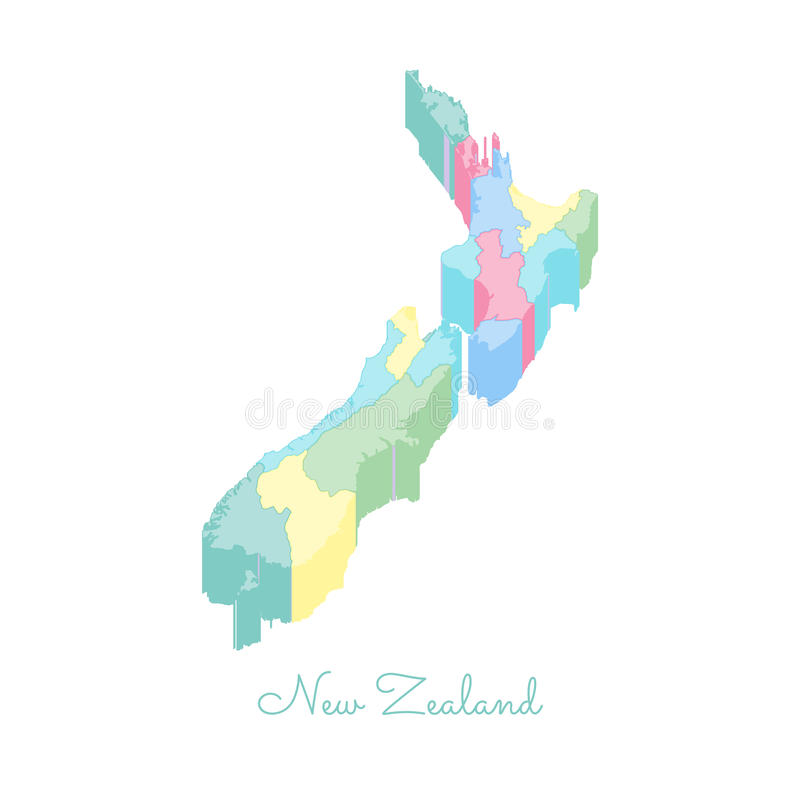 New Zealand Region Map Colorful Isometric Top Stock Vector