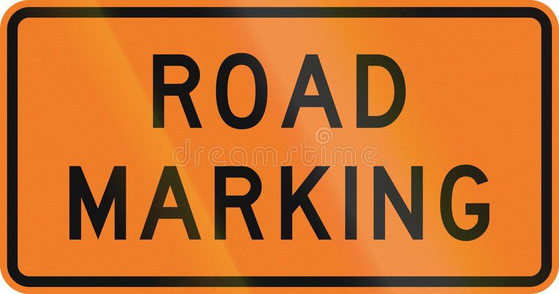 New Zealand road sign - Road marking is being done.  vector illustration
