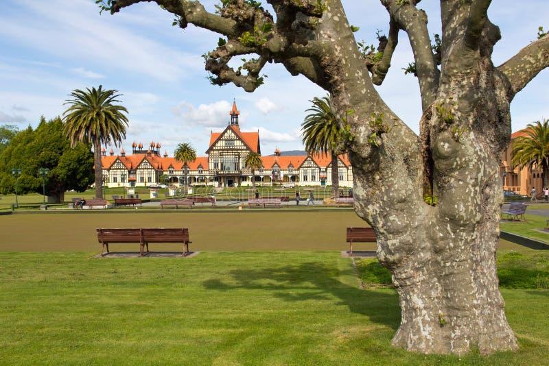 New zealand, rotorua, government gardens stock images