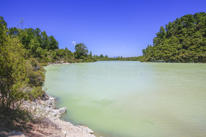 New Zealand, Rotorua, Wai-O-Tapu Thermal Wonderland, Lake Ngakoro royalty free stock photo