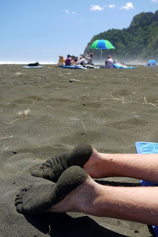 Download New Zealand: Sandy Feet On Black Sand Beach Stock Image - Image: 37653033