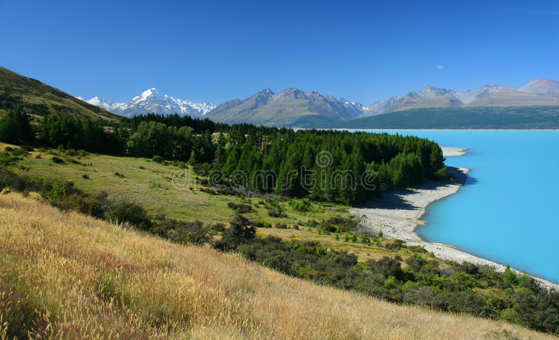 New Zealand scenery with Mount Cook in background stock photography