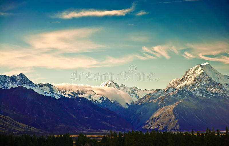 New Zealand scenic mountain landscape. Shot at Mount Cook National Park stock images