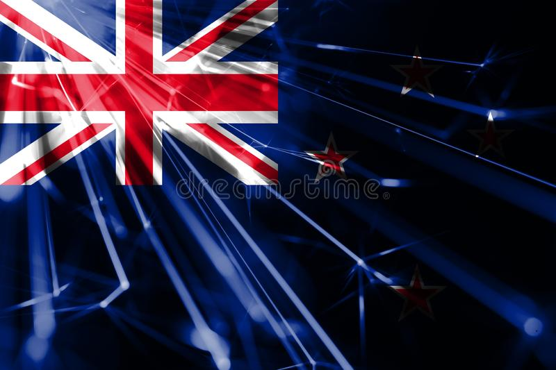 New Zealand shining fireworks sparkling flag. New Year 2019 and Christmas futuristic shiny party concept flag. New Zealand shining fireworks sparkling flag. New stock illustration