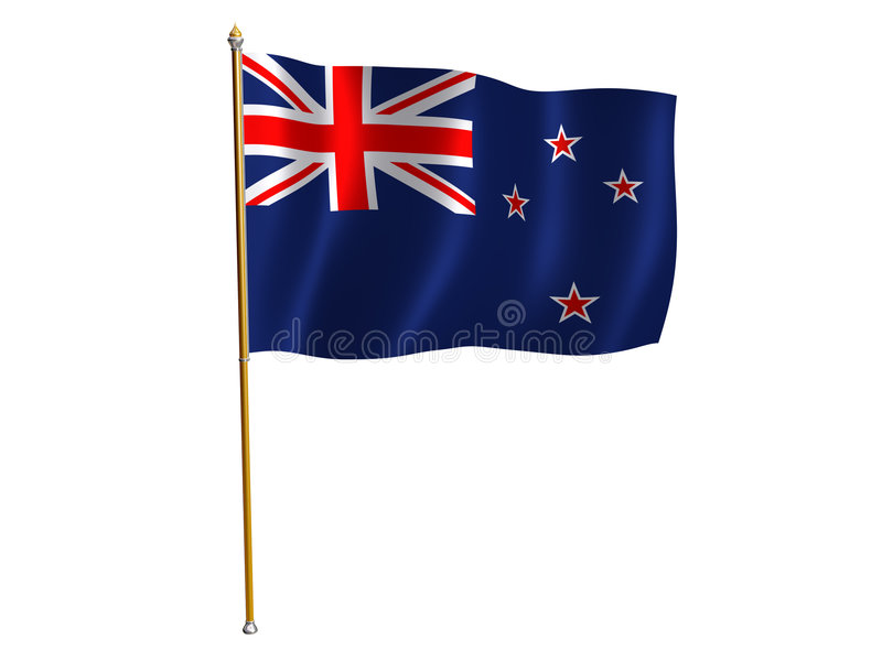 New Zealand silk flag. Silk flag of New Zealand royalty free illustration
