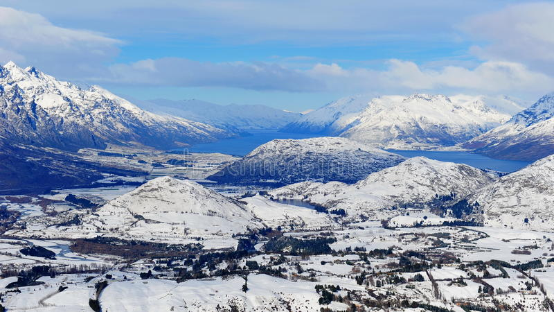 New Zealand snow mountains royalty free stock image