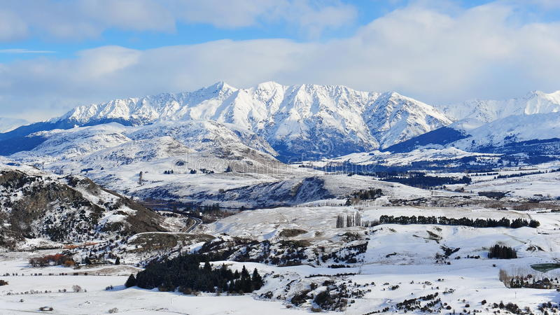 New Zealand snow mountains royalty free stock images