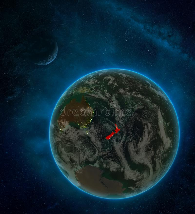 New Zealand from space on Earth at night surrounded by space with Moon and Milky Way. Detailed planet with city lights and clouds. 3D illustration. Elements of vector illustration