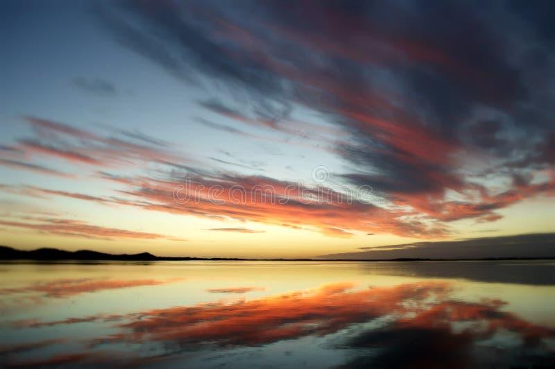 New Zealand Sunset Reflections stock images