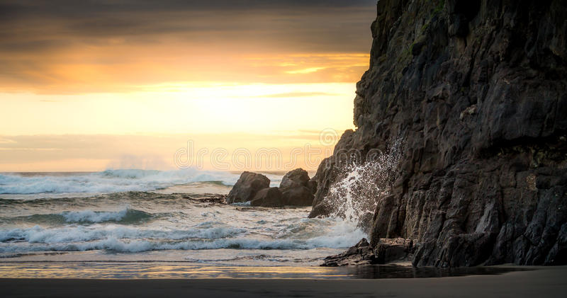 New Zealand Sunset and Waves stock images