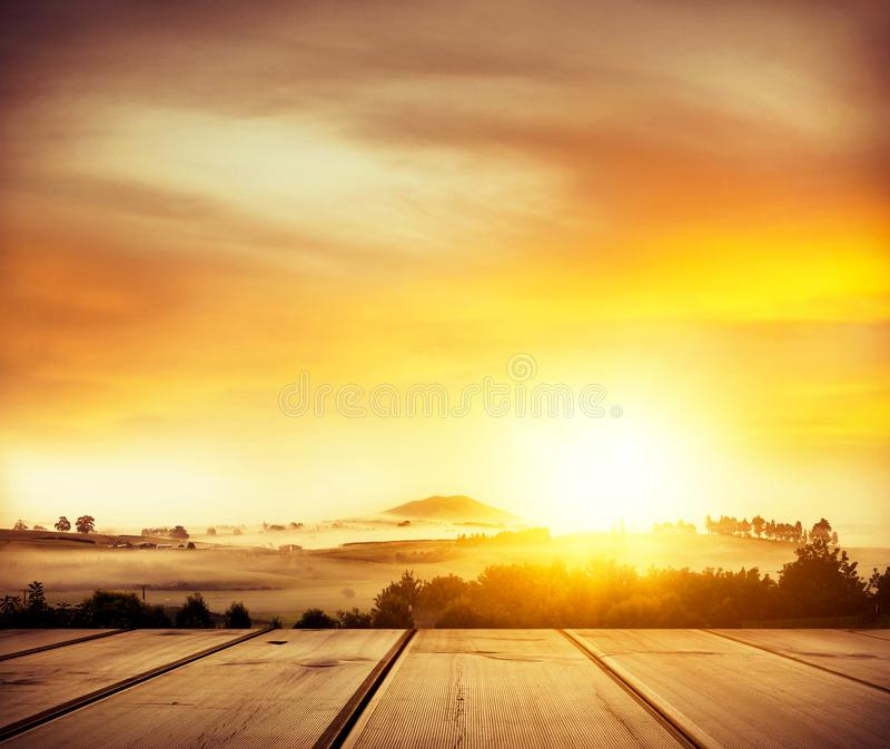 New Zealand view from deck. Beautiful New Zealand scenery in golden light from deck view royalty free stock photos