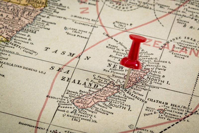 New Zealand on vintage map stock images