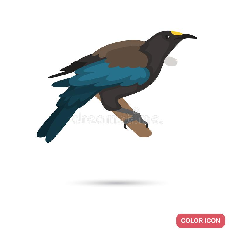 New Zeland tui bird color flat icon for web and mobile design royalty free stock photo