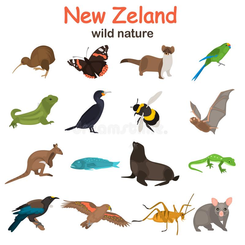 New Zeland wild animals color flat icons set for web and mobile design royalty free stock photo