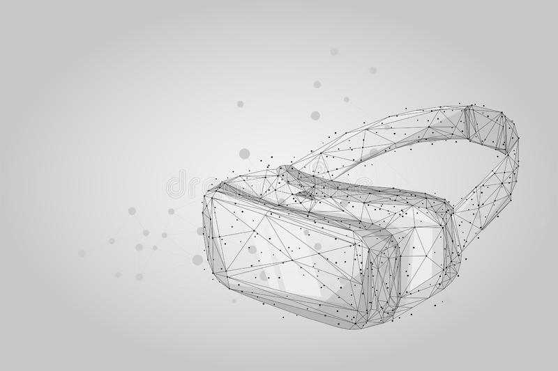 NewAbstract mash line and point VR headset holographic projection virtual reality glasses, helmet. Abstract mash line and point VR headset holographic projection stock illustration