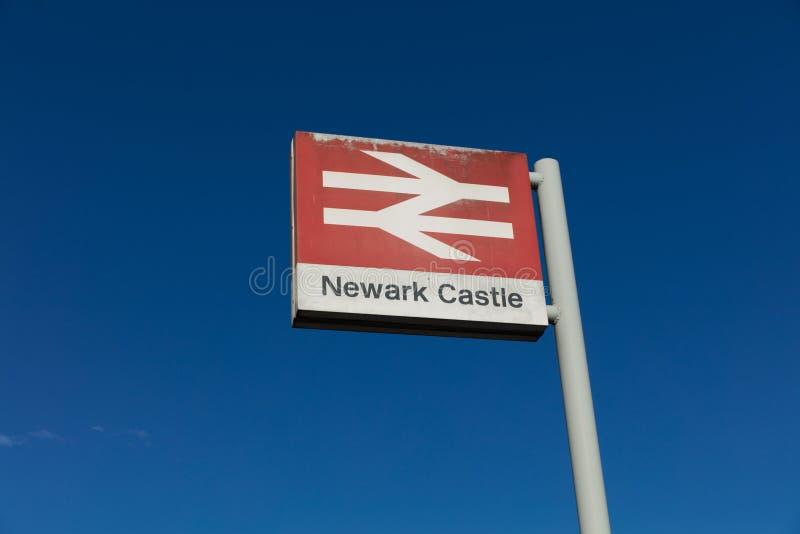 Newark Castle Railway Station, Newark, Nottinghamshire, UK, October 2018, Network Rail sign stock photo