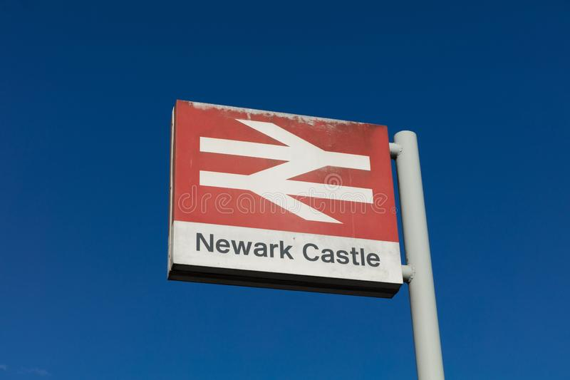 Newark Castle Railway Station, Newark, Nottinghamshire, UK, October 2018, Network Rail sign royalty free stock photography