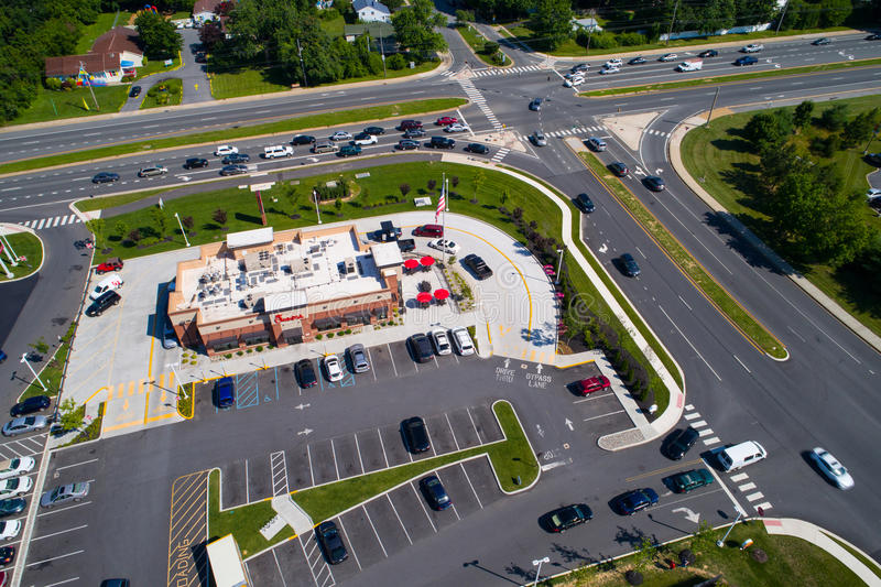 Aerial photo of a Chick-Fil-A fast food restaurant royalty free stock images