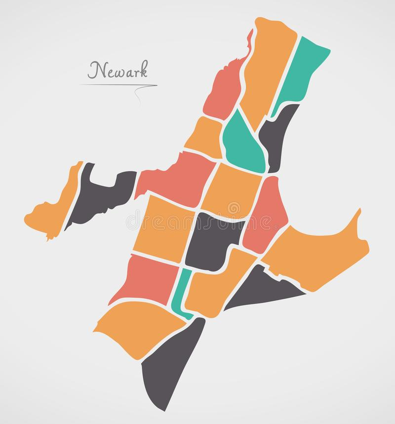 Newark New Jersey Map with neighborhoods and modern round shapes. Illustration royalty free illustration