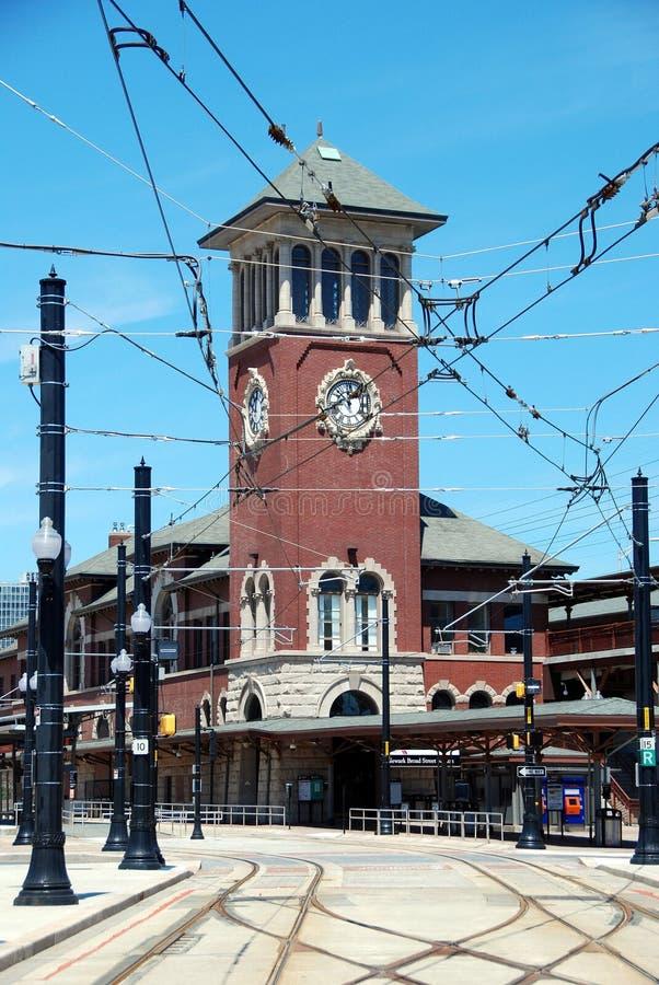 Newark, NJ: Torretta di orologio della stazione della vasta via immagini stock libere da diritti