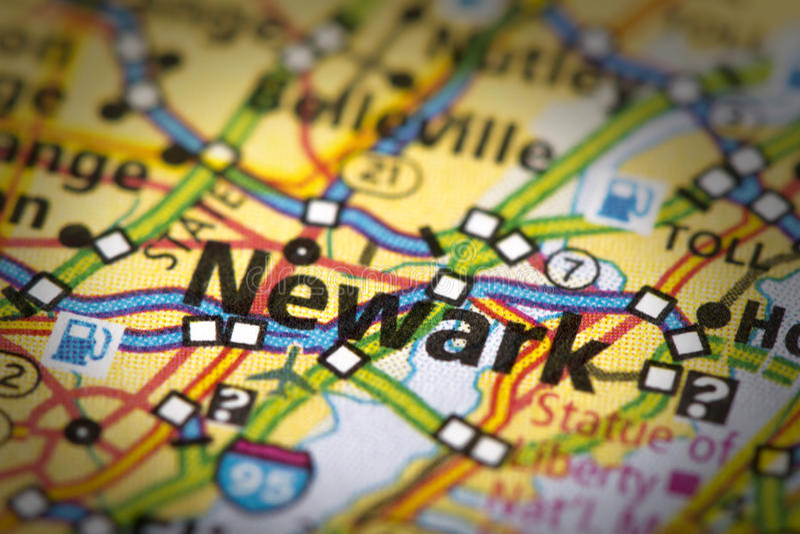 Newark, Nowy - bydło na mapie zdjęcie stock