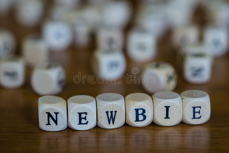 Newbie written with wooden cubes royalty free stock photo