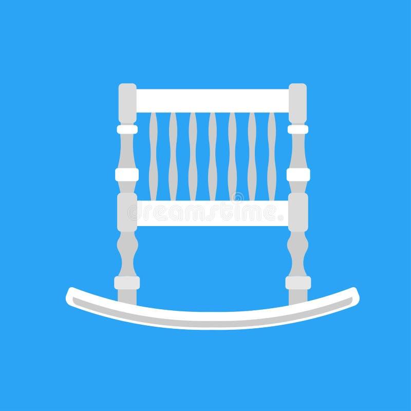 Newbord del icono del vector de la cuna del beb? S?mbolo blanco lindo de la historieta del cuidado de la cama del ni?o Muebles de stock de ilustración
