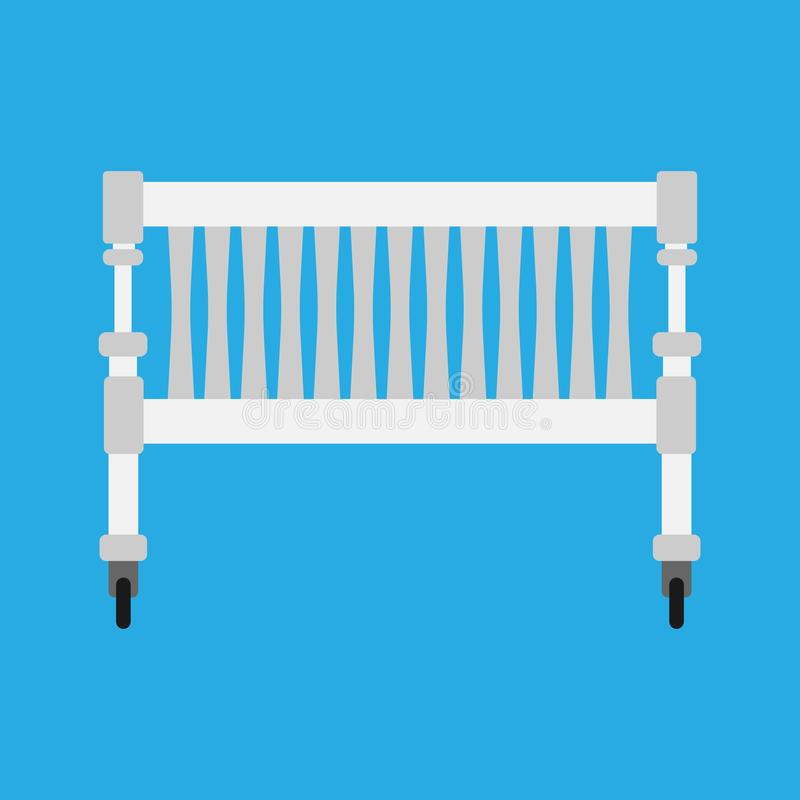 Newbord do ícone do vetor do berço do bebê Símbolo branco bonito dos desenhos animados do cuidado da cama da criança Mobília do t ilustração royalty free