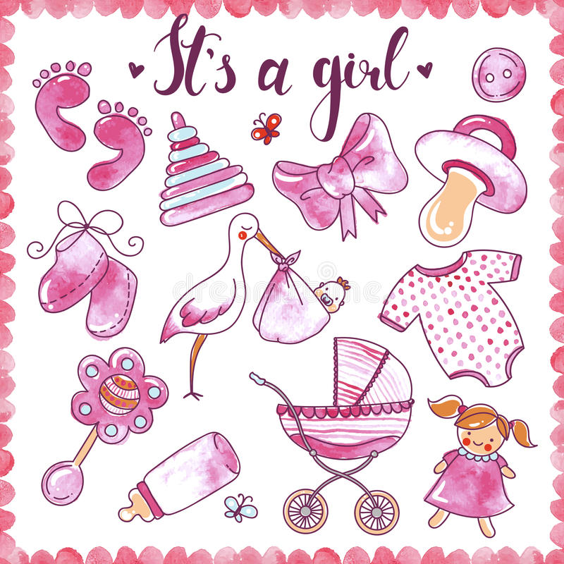 Newborn комплект элементов девушки нарисованный рукой бесплатная иллюстрация