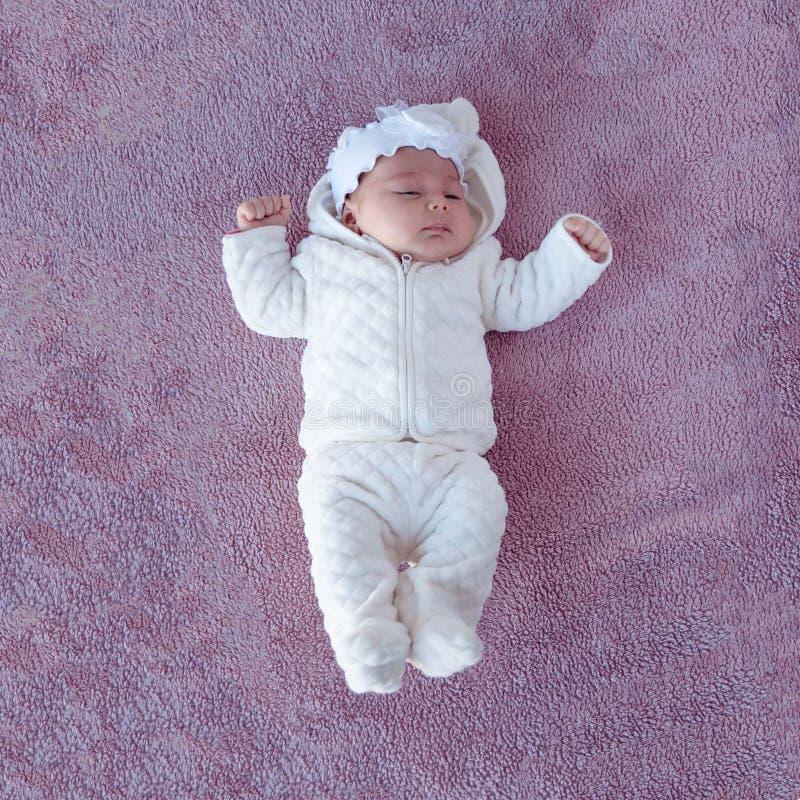 Newborn младенец на фиолетовой предпосылке, изображение от верхней части ново стоковое изображение rf