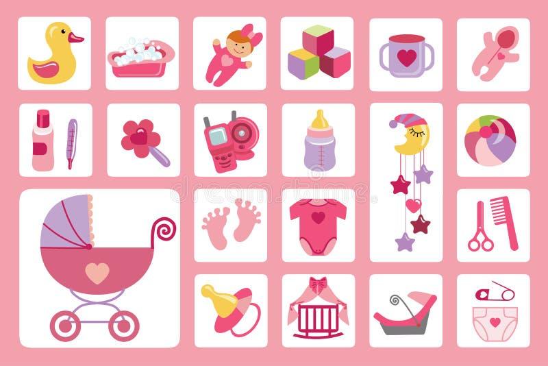 Newborn установленные значки ребёнка принесенный младенцем ливень карточки мальчика новый иллюстрация вектора