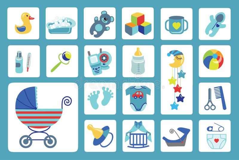 Newborn установленные значки ребёнка принесенный младенцем ливень карточки мальчика новый иллюстрация штока