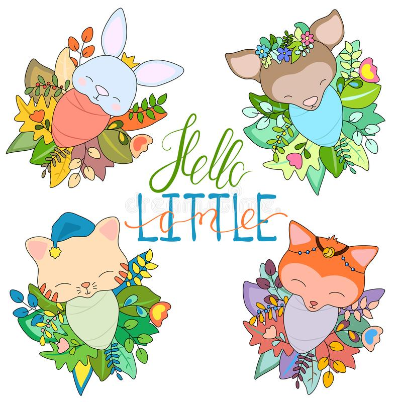 Newborn animal babies in seasonal floral wreath. Cute baby animal set vector illustration on white background. Baby shower decor. Colorful flower and leaf stock illustration