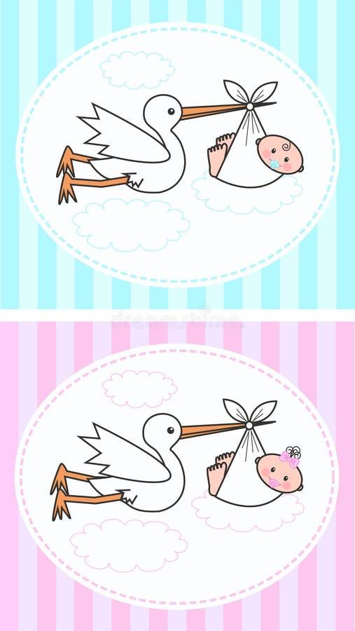 Newborn babies. Illustration of newborn baby boy and baby girl royalty free illustration