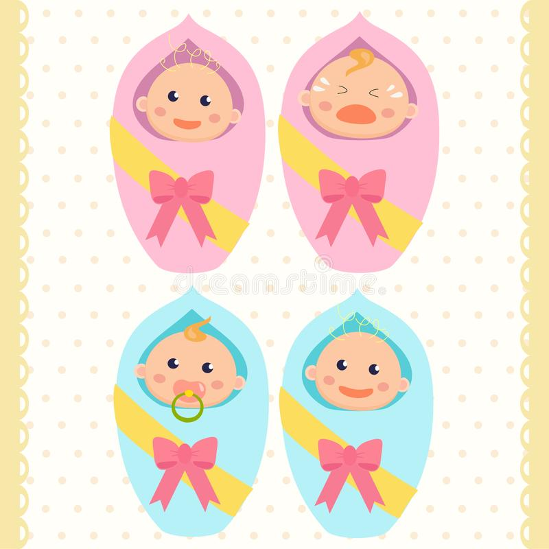 Newborn babies. Baby boy and baby girl. Newborn babies. Baby boy and baby girl Flat design royalty free illustration