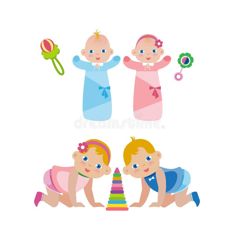 Newborn babies in diapers and children crawling on their knees. royalty free illustration