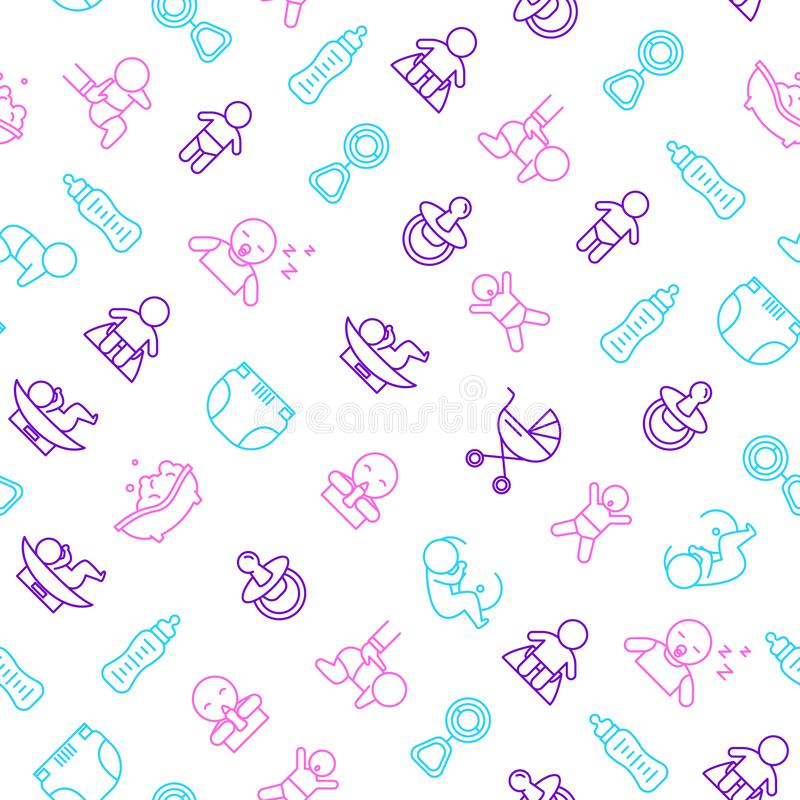 Newborn Babies Signs Thin Line Seamless Pattern Background. Vector stock illustration