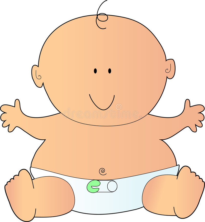 Newborn Baby. In a Diaper with a Safety Pin vector illustration
