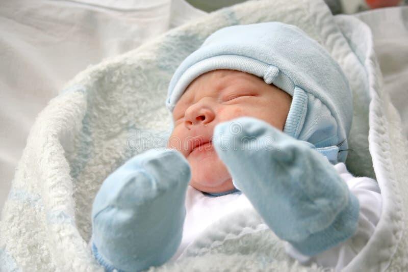 Newborn baby. After childbirth, newborn baby, taken in hospital stock image