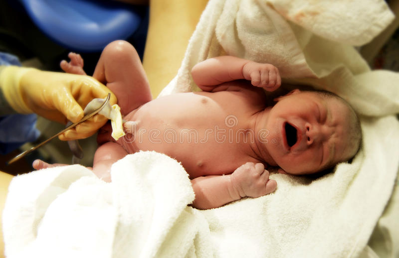 Newborn baby. The moment after a newbaby born