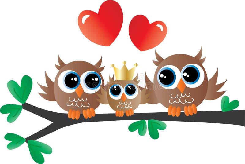 Newborn baby announcement cute owl family stock illustration