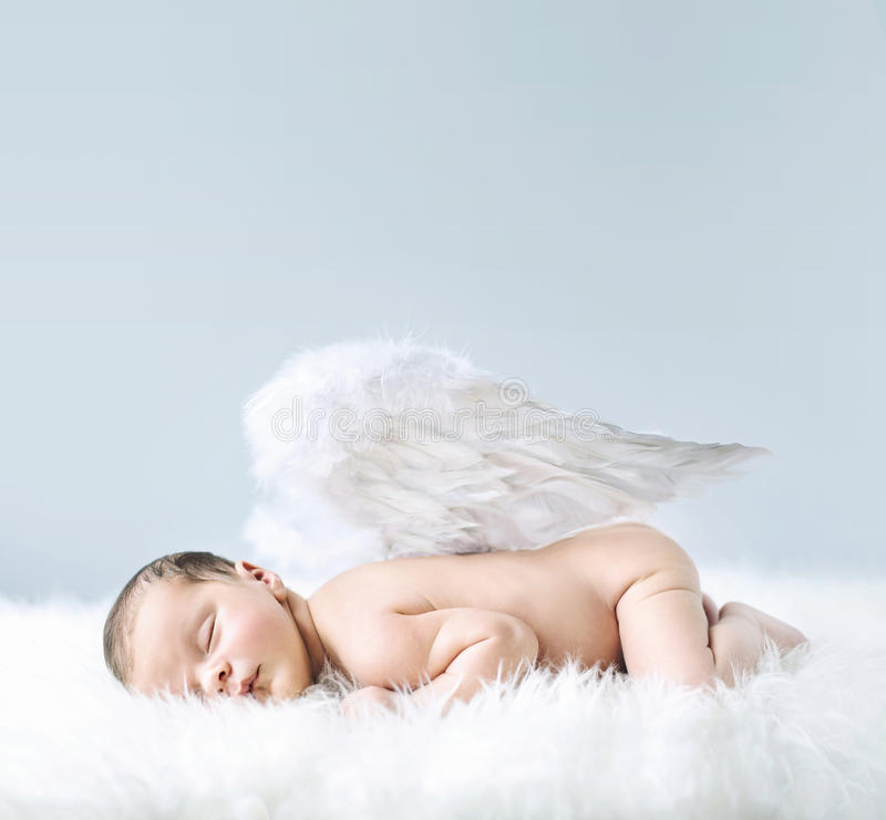 Newborn baby as an angel. Newborn baby as an cute angel royalty free stock photo