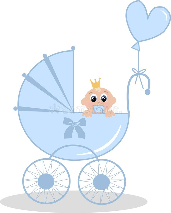 Newborn baby boy. Illustration of a newborn baby boy with a crown on his head stock illustration