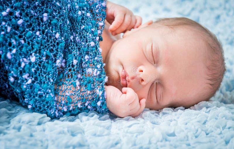 Newborn Baby Sleeping, Asleep On Bed Stock Photo - Image