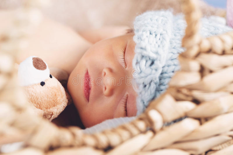 Download Newborn Baby Boy In A Basket Stock Photo - Image of brown, life: 89334990