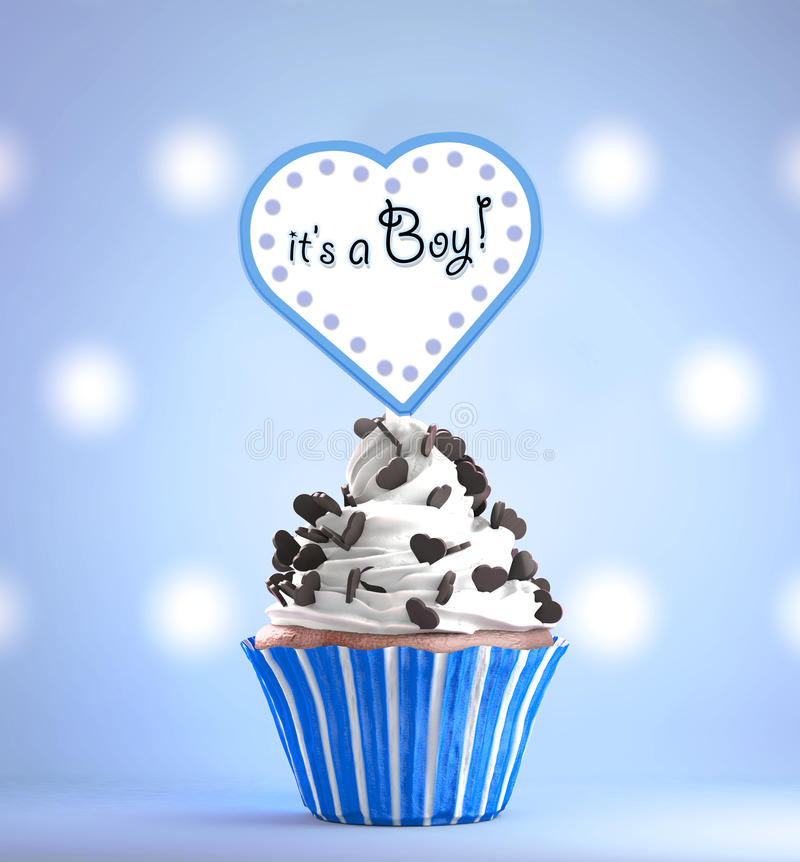 Newborn baby boy card message on a delicious cupcake stock download newborn baby boy card message on a delicious cupcake stock illustration illustration of announcement m4hsunfo Image collections